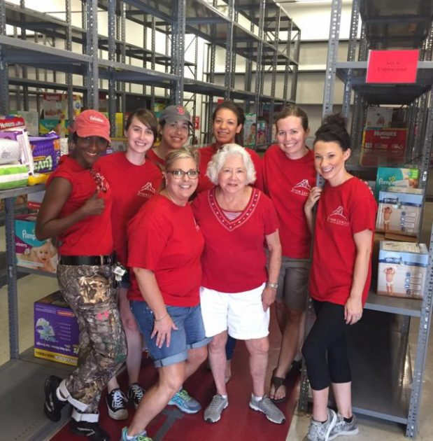 JLBR Members working to distribute diapers to families in need following the historic flooding in south Louisiana.