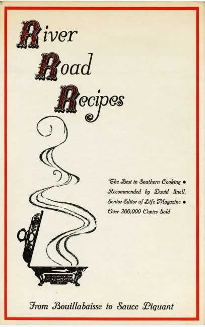An early promotional cover for River Road Recipes I. Copyright retained by East Baton Rouge Parish Library.