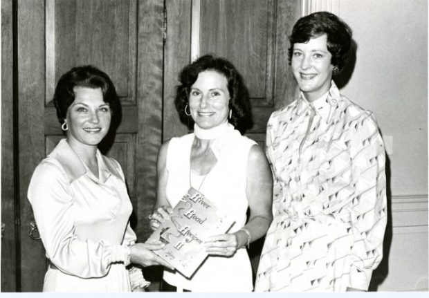 The debut of River Road Recipes II: A Second Helping in 1974. From left to right, Mrs. Robert F. Arbour (President), Mrs. Edwin Edwards, Mrs. James Alexander (Cookbook Chair). Copyright retained by East Baton Rouge Parish Library.