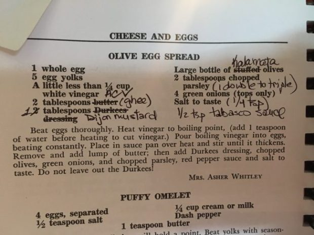 Betsy's recommended substitutions for RRR I's Olive Egg Spread.