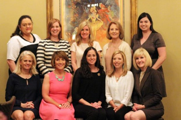 Standing (left to right): Toni Buxton; Cheryl Payne; Lisa Ann Moore; Martha Rome; Angelique Freel Bottom Row: Tanya Foil; Suzette Say; Leslie Berg, 14-15 JLBR President; Kristen Landry; Mary Carmouche